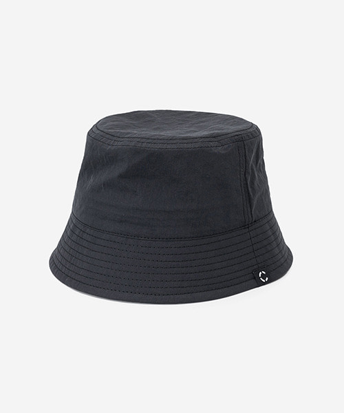 Big Sized Bucket Hat Washed Nylon Black